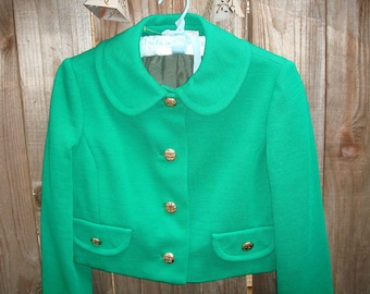 Vintage New with tags 60s BULLOCK'S WHILSHIRE Emerald Green Cropped Formal Jacket Peter Pan collar Size Small/Medium