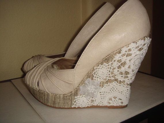 RESERVED Beige Crochet Wedges  Hand Embellished Shoes Lace Altered Shoes size 7 and a half