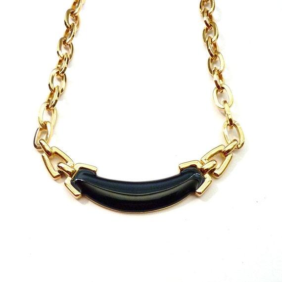 Monet Necklace Gold-Tone Choker Black Enamel 1980s