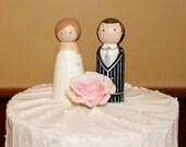 Wedding Cake Toppers Personalized Bride Groom Large Wood Peg Dolls Custom Peggies Keepsake Anniversary Bridal Hand Painted Figurines Vintage