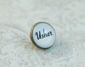 Usher Tie Tack, Tie Pin, Lapel Pin, Wedding Brooch, Boutonniere