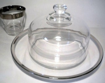 Vintage Silvered Rimmed Plate With Glass Dome Midcentury Modern Mad Men Cheese Server Keeper
