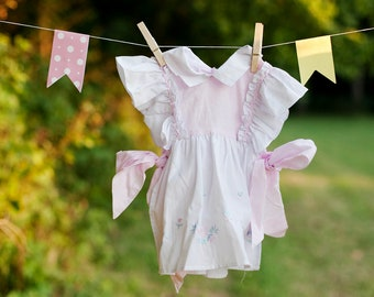 Present for Mommy Vintage Baby Girl Pink and White Polka Dot Easter Spring Floral Print 2 piece Toddler 18 Months Dress