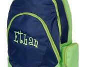Personalized Backpack (NAVY w/ GREEN)