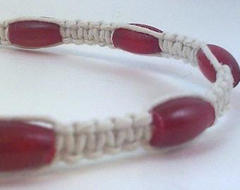 White Hemp Anklet with Red Bone Horn Beads