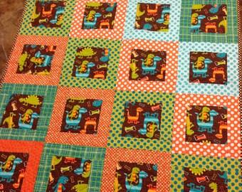 Dino Dudes Baby Boy Toddler Crib  Quilt in -- orange, aqua, brown, green dinosaurs