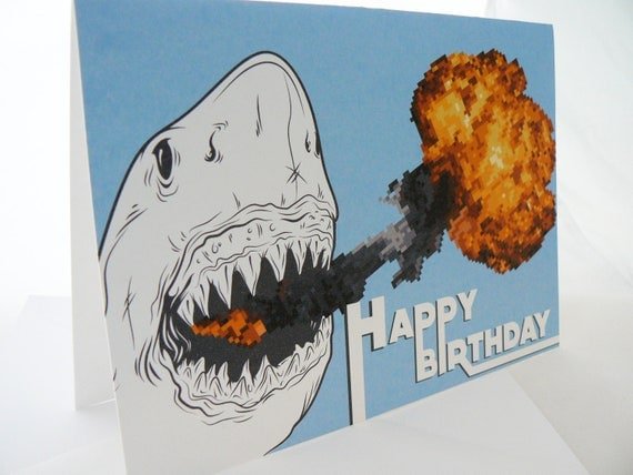 Fire Breathing Shark - Birthday Greeting Card