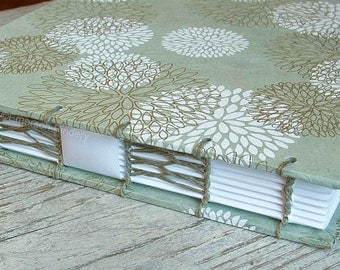 Baby Shower Guest Book, Bridal Shower Guest Book, Sage Green with White Flower Bursts, {MADE upon ORDER}
