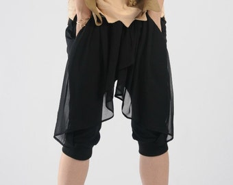 Black cotton knit patchwork chiffon harem pants chiffon shorts