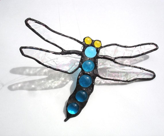 Dragonfly suncatcher stained glass sapphire blue hanging window art