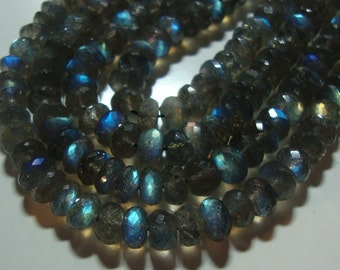 29% off 1/2 strand, 6-7mm, Flashing Blue Fire Dark LABRADORITE Micro Faceted Rondelle