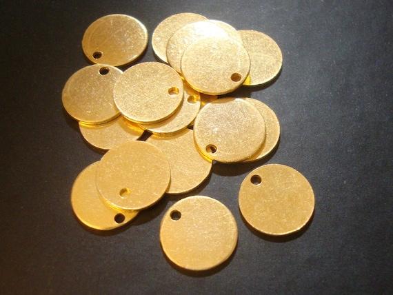 24 pcs, 10 mm, 24g gauge g, 24K Vermeil Sterling Silver Handmade disc, stamping, tag, pendant