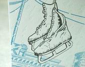 Letterpress Christmas Holiday Card - City Skates