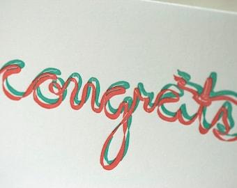 SALE - Congrats Letterpress card - ribbon