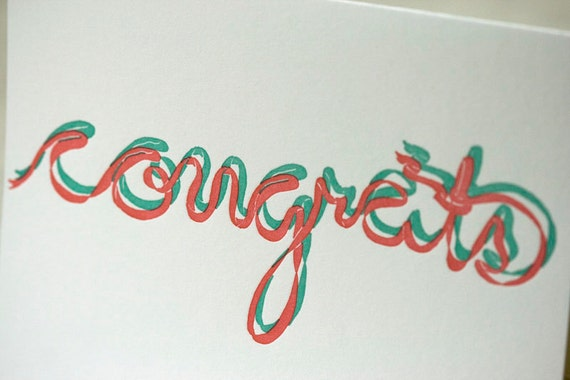 SALE - Congrats Letterpress card - ribbon