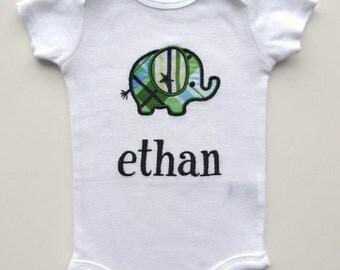 Personalized Elephant Bodysuit-Personalized Embroidered Elephant Bodysuit- Baby Boy - Applique Elephant