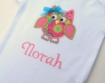 Personalized Patchwork Owl Bodysuit-Personalized Embroidered Owl Bodysuit- Baby Girl Bodysuit- Infant Bodysuit- Applique Owl
