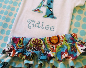 Personalized Initial Bodysuit and Diaper Cover Set- Embroidered  Diaper Cover Set-Personalized Embroidered bodusuit- Aqua Paisley