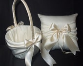 Ivory or White Wedding Ring Bearer Pillow & Flower Girl Basket 2pc set