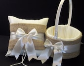 Burlap Wedding Ring Bearer Pillow,  Flower Girl Basket White Or Ivory 2 Piece Set