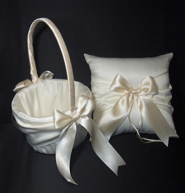 ivory or white wedding ring bearer pillow flower basket