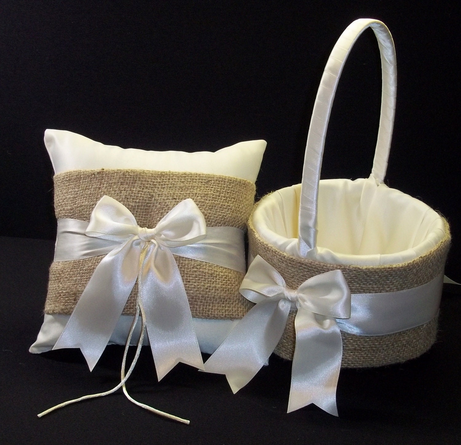 Flower Girl Baskets And Ring Pillows : Burlap wedding ring bearer pillow flower girl basket white