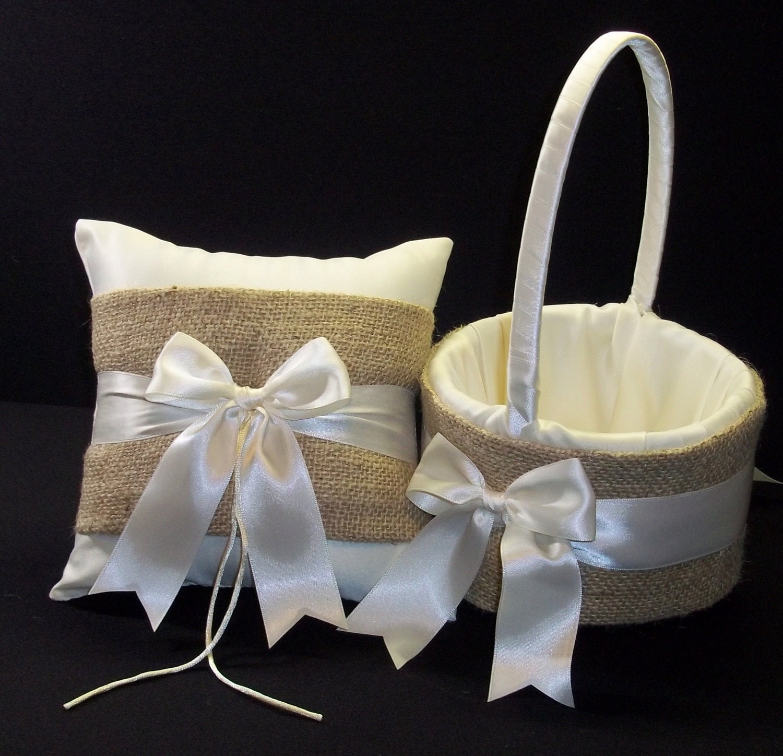 Burlap Wedding Ring Bearer Pillow Flower Girl Basket White