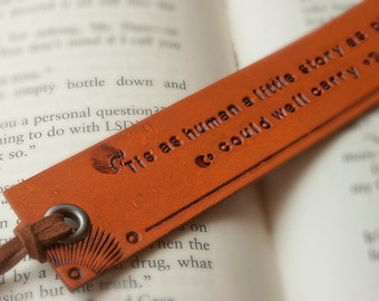 Leather bookmark -  'Tis as human a little story as paper could well carry - James Joyce quote Bookmark - Made to Order