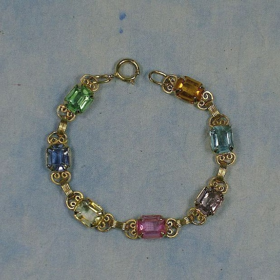 Vintage Gold Filled Faceted Glass Gemstone Rhinestone Bracelet, 6 7/8 Inches, Like New