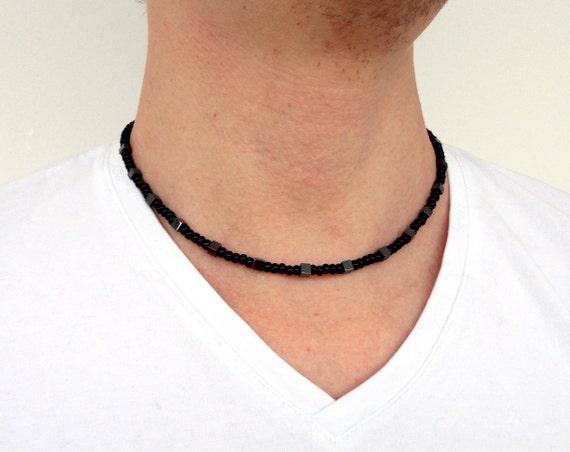 Rocker black necklace glass grey stone hematite unisex men women made to order