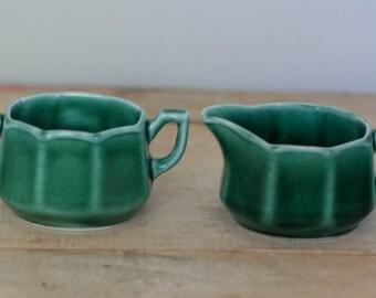 vintage green ceramic cream and sugar set made in USA
