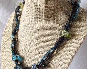 OOAK Shabby Strands Statement Necklace - Black & Shade of Blue with Dainty Dangles - SSC11