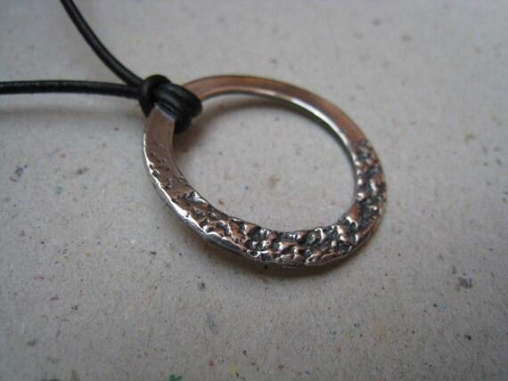 Organic Textured Hoop Oxidized Fine Silver Pendant