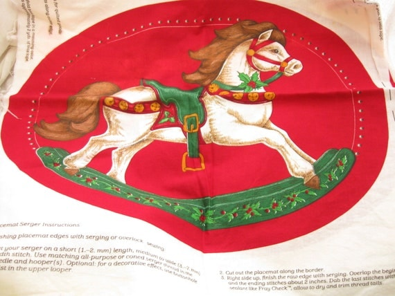 Christmas Rocking Horse Placemat Fabric Panel Cranston Print Works Fabric Destash