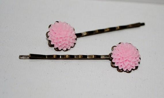 Light Pink Dahlia Mum Cabochon Bobby Pins---Set of Two