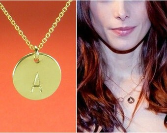 Gold Initial Necklace, Monogrammed Disc,Free US Shipping