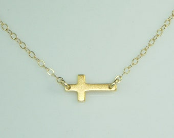 Small Gold Sideways Cross Necklace, Free US Shipping