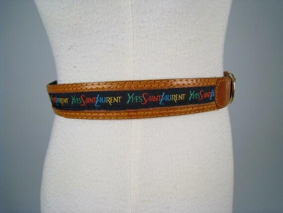Vintage 1980s YSL leather monogrammed belt