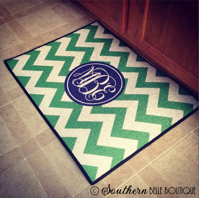 monogram welcome mat monogrammed door mat custom. Black Bedroom Furniture Sets. Home Design Ideas