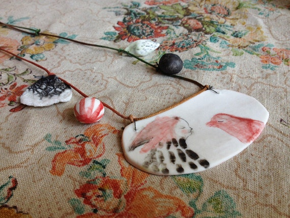 Pendant 6 : 'Conversation with a red bird' Original OOAK handmade necklace