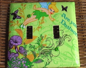 Disney Tinkerbell Set Double Toggle Light Switch Plate Cover and 3 Outlet includes child safety plugs
