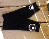 SALE-Black Repurposed Wool Sweater Arm Warmers with Purple, Argyle, and Cream Fabric Flower Detail and Vintage Button