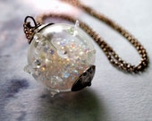 Amoeba. Glass Wonder Globe. Pendant Full of Sparkly Goodness. Sterling Silver Chain. Sterling Silver Jewelry