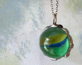 Magical Orb of Gypsy Curse Removal Necklace. Vintage Large Glass Marble. Oxidized Sterling SIlver