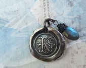 Monogram Initial Wax Seal Necklace with Blue Labradorite Rondelle Charm. Fine Silver Any Letter. Wax Seal Stamped Jewelry - RenataandJonathan