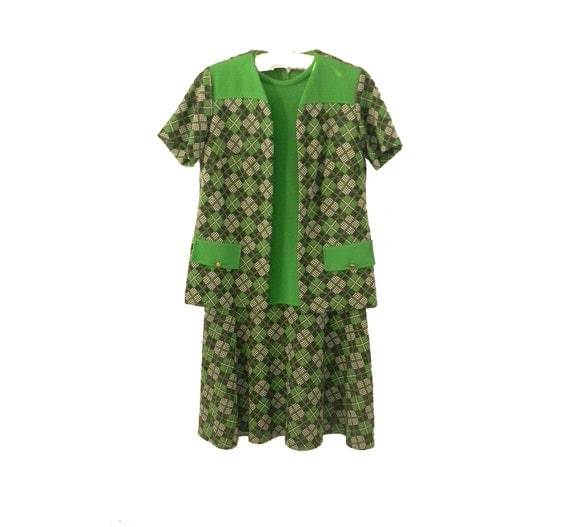 Reserved- Green and Plaid Shift Dress