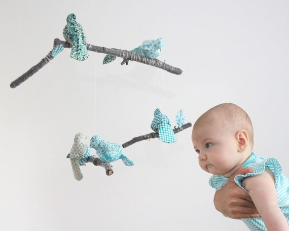 Modern Bird Mobile for Nursery Baby Decor - fabric sculpture on branches in turquoise, dusk blue, white, and gray