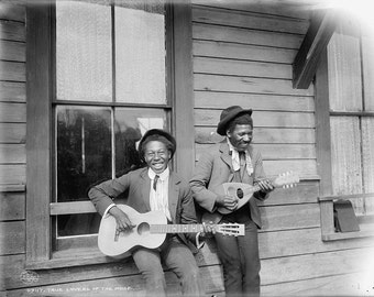 Black Americana in the Deep South Vintage image two men playing guitars 8 1/2 x 11 reproduction