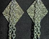 Silver Diamond with Blue Drop Earrings Jewelry