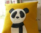 Panda Pillow - Pillow Cover -  Decorative Pillow - Mustard Yellow - Nursery - Panda - Bear